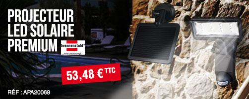 Projecteur LED Solaire Premium 8x0.5W P2 - IP44 - PIR BRENNENSTUHL - 1179330