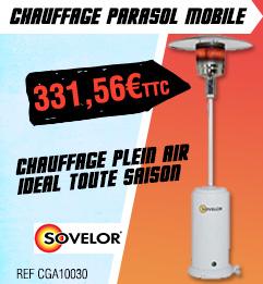 Chauffage parasol mobile SOVELOR mobile - Propane - Blanc - BRASILIA