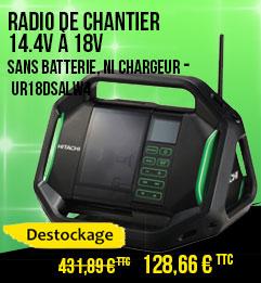 Radio de chantier HITACHI 14.4V à 18V - Sans batterie, ni chargeur - UR18DSALW4