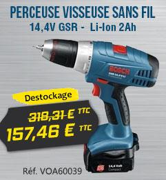 Perceuse Visseuse sans fil BOSCH 14,4V GSR Li-Ion 2Ah - 060186040N